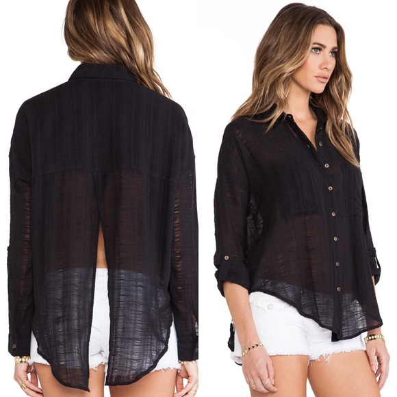 7562b9bb0 Free People Tops | Shibori Siren Button Down Black | Poshmark